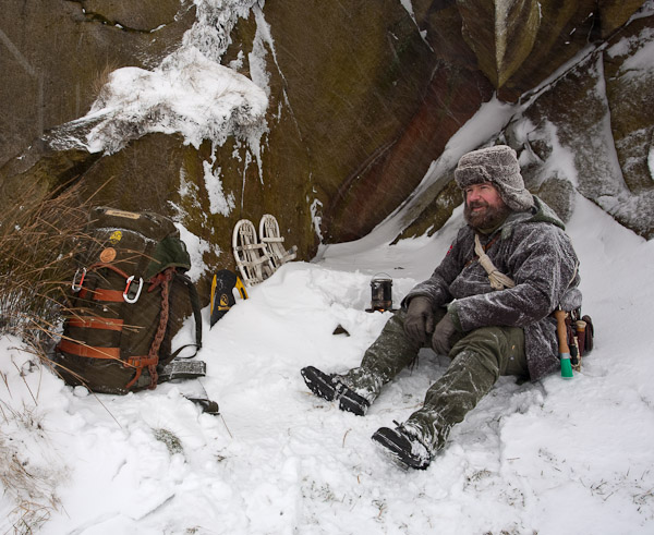 Using my hobo stove to melt snow for a drink. - Ice Raven - Sub Zero Adventure - Copyright Gary Waidson, All rights reserved.