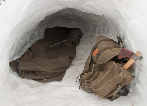 Basic sleeping arrangements in a quinzhee - Ice Raven - Sub Zero Adventure - Copyright Gary Waidson, All rights reserved.